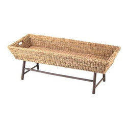 """Padma's Plantation - Basket Coffee Table by Padma's Plantation - The Basket Coffee Table features a unique basket weave top. It incorporates the top with rattan legs for a new twist to a traditional favorite. (PP) 47.5"""" Wide x 20"""" Deep x 17"""" High"""