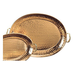 Old Dutch International - Decor Tray in Copper Finish - Copper plating and brass handles. Made from stainless steel. 19.5 in. L x 13.25 in. W x 1.25 in. H (3 lbs.)