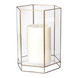 Lazy Susan - Glass Oriel Hurricane, Large - -Use Pillar Candle