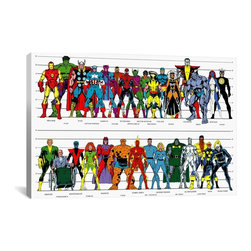 Marvel Comics Canvas Print, Book Character Size Chart - Museum-quality canvas print by Marvel gallery wrapped and ready for wall hanging with no additional framing required. The canvas print is remarkably bright in color and unrivaled in detail with quality ink that has been light-tested to last over 100 years!