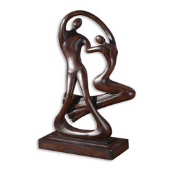 "Uttermost - Ballroom Dancers Statue - Calling all ""Dancing with the Stars"" fans! This contemporary statue of ballroom dancers is sleek, sexy and stylistic. Cast in a distressed, chestnut brown finish, it's as at home perched on a mantle as it is gracing a bedroom dresser."