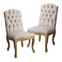 Great Deal Furniture - Jolie French Design Weathered Wood Dining Chairs (set of 2) - With its unique weathered frame and plush seat and tufted backrest, you will want to keep a pair of Jolie dining chairs in each and every room.