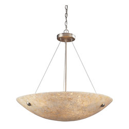 Elk Lighting - Stonybrook 6-Light Pendant in Satin Nickel and Pearl Stone - Weathered by time and the graceful ebb of a tranquil stream, the Stonybrook Collection gathers these stones together to form handsome, lens-shaped bowls in either pearl-hued stone with a satin nickel frame or amber stone with a dark rust frame.