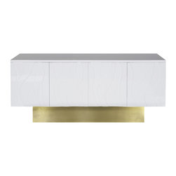 Worlds Away - White Valerie Console - White lacquer wave detail 4 door console with brushed brass base. Doors open with push latch. Includes interior shelf.