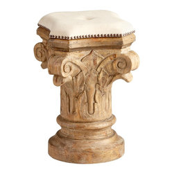 Cyan Design - Cyan Design Furniture - Stool X-49250 - This Cyan Design stool is full of stunning intricate carvings including large scrolled detailing and beautiful leafy accents. The pedestal inspired shape also features an upholstered top with thumbtack accenting, and the entire design is pulled together with a Limed Gracewood finish.