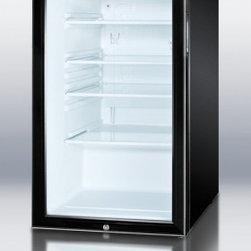 "Summit - SCR500BLBIHHADA 20"" 4.1 cu. ft. ADA Compliant Glass Door Compact Refrigerator  F - SUMMIT SCR500BLBIADA Series features auto defrost glass door refrigerators designed for built-in use under lower ADA compliant counters"