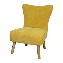 NPD (New Pacific Direct) Furniture - Emery Chair by NPD Furniture, Aureolin - This modern fabric Emery chair with solid Birch wood frame and legs will be a great addition to your living area.