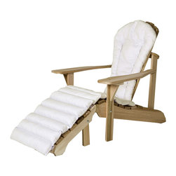 All Things Cedar - Cushion for Adirondack Chair + Ottoman Cushion, White Cushion - Our adirondack chair cushions are made with 2 inches of luxurious polyfil covered with a soft-faced cotton canvas. Edges are reinforced and tie downs and  keep the cushion properly positioned at all times. Item is made to order.