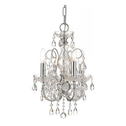 Crystorama - Crystorama 3224-CH-CL-S Chandelier - Imperial Collection has a beautiful, timeless detailing with the glass column and crystal accents. This collection comes in Chrome (for transitional settings) and in Gold (for traditionalists).