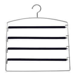 Richards Homewares - Richards Homewares Black Friction 4 Tier Swing Arm Trouser Hangers - Set of 6 - - Shop for Clothing Hangers from Hayneedle.com! About Richards HomewaresBegun in 1939 in L.A. Richards Homewares has a long history of innovation where garment organization is concerned. From early use of vinyl to later product development using steel canvas and wood Richards Homewares has always been on the forefront of the finest in clothing care. Located today in Portland Ore. the company continues to create innovative products for home storage and closet organization.