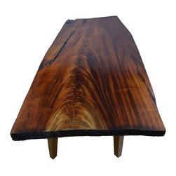 "VtCollection - African Mahogany Slab Table, 42""x27"" - This is a very highly figured Mahogany table. An accent Coffee table that creates a conversation. Upgrade your living space with a unique and beautiful item that expresses raw nature. Made with heavily dimensioned Walnut legs to match the 2"" tabletop thickness."