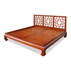 """China Furniture and Arts - Elmwood Ming King Size Bed - The Ming Dynasty furniture style is characterized by its simple, clean, and pleasing lines. With horse-hoof like legs, this Ming low platform king-size bed creates a spacious illusion of the room in any contemporary setting. The hand-carved lattice headboard, with hand-applied rich honey finish, enhances the extraordinary beauty and opulence of wood grain. Intricately handcrafted from solid Elm with traditional joinery technique insures a sturdy structure and long lasting durability. Headboard is 44""""H, platform is 12""""H. (Assembly required.)"""