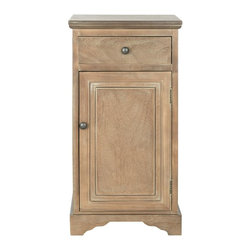Safavieh - Amala Cabinet - The allure of vintage Louis Philippe style is recreated in the Amala pine cabinet with casual grey-washed finish. With its handy drawer and lower storage space, this pretty cabinet multitasks as a living room accent table or lamp table beside a bed.