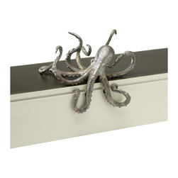 Kathy Kuo Home - Octopus Coastal Beach Cast Iron Antique Silver Bronze Shelf Sculpture - Whether used for nautical inspiration or a slightly surrealist decorative touch - this cast figure of an octopus is sure to add 1,000 leagues of interest to any shelf or window sill!