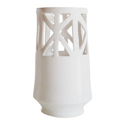Convivial Production - Ivory Tear Drop Vase - This vase is hand-made, carved, and finished in a soft ivory glaze. The slender form is designed for long stemmed flowers. Simply fill water in the lower half of the vase, arrange your flowers and display.