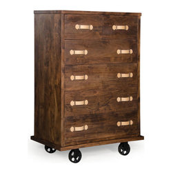 ZUO - Oaktown Tall Dresser - Call off the antique sniffing hounds - you've found the perfect bureau. The Oaktown Dresser boasts a walnut finish that contrasts beautifully with the soft cream drawer pulls and antiqued metal wheels. Comes in wide or tall.