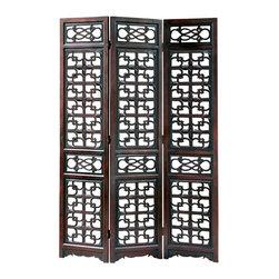 Wayborn - Wayborn Chinese Oakwood West Lake Room Divider in Brown - Wayborn - Room Dividers - 5319