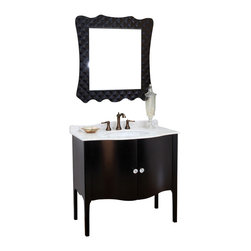 Bellaterra Home - 36.6 in Single sink vanity-wood-black -white marble - Constructed of solid wood, this traditional bathroom vanity is an exquisite design. Curved cabinet front and door panels  with rich black finish brings luxurious look. Crystal door knob adds glamorous look to any bathroom.