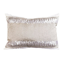 Pyra & Co - Lili Pillow, 14x20 - Inspired by an efferevescent waterfall, the delicate finishes of silver sequins and glass beads atop placid-like silk expresses elegance. Due to the handmade nature of each product, pieces may vary slightly and have imperfections.  These are elements that showcase the true beauty of truly being crafted-by-hand.