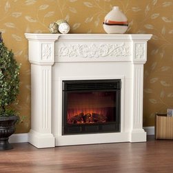 Upton Home - Upton Home Wellington Ivory Electric Fireplace - Stay warm and cozy this winter while adding a sleek and classy look to any room with this ivory realistic flame electric fireplace from Wellington. Conveniently control this fireplace from the comfort of your bed or couch with the remote control.