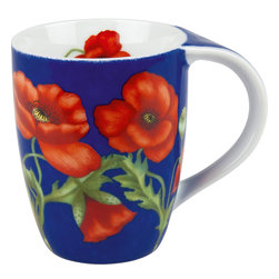 Konitz - Set of 4 Mugs Poppy Blossom on Blue - Bring a garden escape to your coffee break with this set of floral mugs. Bright yellow sunflowers blossom across a blue surface.