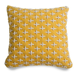 Blu Dot - Blu Dot Mima Pillow, Yellow - Hand-woven from 100% wool, and embellished with a pattern of thick cross-stitching. Available in black, green, red and yellow.100% wool