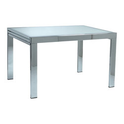 Euro Style - Duo Pure White & Chrome Rectangular Table - Tempered glass top. Chromed steel base. 1-Year manufacturer's warranty. 47.5-95 in. L x 35.5 in. W x 29.5 in. H (134.5 lbs.)Grand ideas for small spaces, the smooth and clean geometric shapes give your rooms a trendy, up-to-date look. The furniture design make your rooms stylish and sophisticated, symbolizing your self confidence.