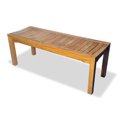 Thos. Baker - rockport backless bench - This versatile teak bench is perfect to add flexible seating to any outdoor dining table, on a deck,  porch or by the pool. Available in four sizes 24in, 48in, 60in and 72in lengths.