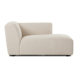 Bryght - Domino Beige Right Sectional Chaise - The Domino modular collection brings forth elements of modern urban design with added flexibility to maximize seating. A low profile design with a deep seat, tactile woven fabric and ample cushioning makes for a comfortable yet firm seat that will resonate well with modern interiors.