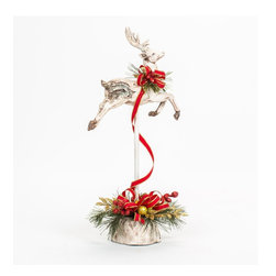 Christmas Decorated White Washed Glittered Deer - A custom white washed glittered deer on a spindle decorated with a handcrafted Christmas floral arrangement