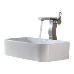 Kraus - Kraus White Rectangular Ceramic Sink and Sonus Faucet Chrome - *Add a touch of elegance to your bathroom with a ceramic sink combo from Kraus