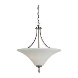 Sea Gull Lighting - Sea Gull Lighting 65181-965 Three Light Uplight Pendant In Antique Brushed Nicke - Sea Gull Lighting 65181-965 Three Light Uplight Pendant In Antique Brushed Nickel Finish With Satin Etched Glass Painted White InsideMontreal Collection