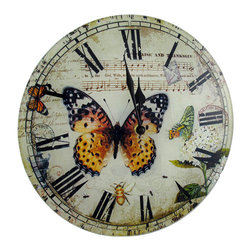 Butterfly Glass Clock Roman Numerals 12 In. - This glass wall clock adds a lovely accent to any decor. It measures 12 inches in diameter, 1/2 of an inch deep, and features a beautiful print of butterflies, flowers and bees. The clock has bold, black Roman numerals and black hands to mark the time. It features quartz movement and runs on 1 AA battery (not included).