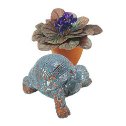 """EttansPalace - Aged Ceramic Turtle Sculpture Statue - A whimsical home or garden accent that symbolizes endurance and long life, this artisan-designed turtle is adorable enough to find an instant home in your heart. Our quality ceramic sculpture is hand fired in an extreme heat kiln, once for stability and then again, with a special crackle glaze to create a long-treasured, faux aged finish. Ceramic items should not be outside in freezing temperatures. Each: 8.5""""W x 7""""D x 5""""H. 2 lbs."""