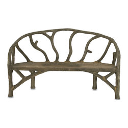 Kathy Kuo Home - Rustic Sculpted Tree Branch Faux Bois Bench - French country outdoor furniture is undeniably charming and usually crafted from concrete, using a technique called faux bois where a steel framework is covered with concrete sculpted to imitate the look of tree branches.  Created the old fashioned way by hand-applying concrete over a metal frame, this beauty can live inside or out.