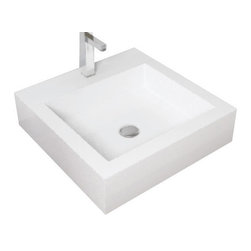 Badeloft - Badeloft - Stone Resin - Countertop Sink, Glossy, Small - The WB-05-S countertop sink is certain to add a touch of style and elegance to your luxury bath with its sleek, straight lines and easy to clean and maintain stone resin composition. The petite square basin offers big style in smaller spaces for maximum impact sophistication. The unequaled artistic styling is meticulously crafted to blend seamlessly with any decor. For minimalist fashion, chose a model of simplicity that delivers big on contemporary style. This bathroom sink offers the greatest durability that complements your modern or traditional bath. The innovative shape is streamlined to enhance the flow of your bathroom routine while bringing a crisp shape, clear color and ideal functionality to your dream bathroom.