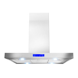 "AKDY - AKDY AK-Z627I-CS3-36 Euro Stainless Steel Island Mount Range Hood - This 36"" ventilation hood can be mounted over any island or peninsula with a 8-9' ceiling. The bold stainless steel hood can be installed over many 36"" and 30"" ranges and cook tops including some commercial-style cooking surfaces. Four LED lights provide exceptional visibility above the cook top surface. 3-speed hidden Fan control Creates an uninterrupted design with hidden controls that make it easy to select fan speeds and operate lights. Convertible to recirculating vent system allows you to install your ventilation systems in kitchens without directly venting to the outside and features a charcoal filter to keep air fresh. The dishwasher safe Mesh filters helps keep the kitchen fresh when drawing steam grease and odors through the hood."