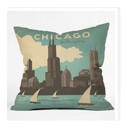 "DENY Designs - Anderson Design Group Chicago Throw Pillow - Wanna transform a serious room into a fun, inviting space? Looking to complete a room full of solids with a unique print? Need to add a pop of color to your dull, lackluster space? Accomplish all of the above with one simple, yet powerful home accessory we like to call the DENY Throw Pillow! Features: -Anderson Design Group collection. -Material: Woven polyester. -Sealed closure. -Top and back color: Print. -Spot treatment with mild detergent. -Made in the USA. -Closure: Concealed zipper with bun insert. -Small dimensions: 16"" H x 16"" W x 4"" D, 3 lbs. -Medium dimensions: 18"" H x 18"" W x 5"" D, 3 lbs. -Large dimensions: 20"" H x 20"" W x 6"" D, 3 lbs."