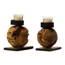 ParrotUncle - Driftwood Ball Iron Base Candle Holder 2-piece Set - The driftwood is hand-crafted with care and attention to detail.The unique character and natural variations of driftwood adds to its charm. Natural craft driftwood candle holders