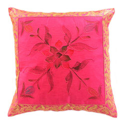Banarsi Designs - Hand Painted Floral Pillow Cover, Set of 2, Fuchsia - Transform your pillows into a piece of art with our gorgeous floral Hand Painted Deluxe Pillow Cover Set from our Banarsi Designs collection.