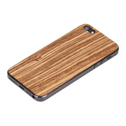 Lazerwood - Zebra Wood iPhone Cover - Low profile, real wood veneer cover for iPhone. Peel-and-stick backing makes the cover easy to apply and remove without damage to the phone. Designed and made in Seattle, WA.