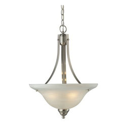 Z-Lite - Z-Lite 2110P Athena 3 Light Bowl Shaped Pendant - Simple yet clean lines combined with a brushed nickel finish and a white swirl shade give an elegance to this three light pendant which will undeniably bring a classic touch to your home.Features: