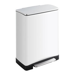 """Safco - Squared Step On 13 Gal. - Make a smooth impression with the Step-On Receptacle. This hands free receptacle has a unique shape allowing it to fit into room corners to help save on valuable space and is fingerprint proof, ensuring it will always look its best. The receptacle features a rigid plastic liner with built-in bag retainer and the lid closes slowly to prevent slamming of the lid and for a more quiet close. Available in Satin Steel, Red or White. Capacity Volume: 13 Gal; Paint Finish: Gloss; Limited Lifetime Warranty; Dimensions: 19.5Wx11.5Dx25.5H"""""""