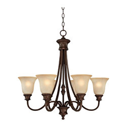 """Lamps Plus - Traditional Hill House Collection 6-Light  28"""" Wide Chandelier - Timeless classic beauty comes to life on this six light chandelier from the Hill House Collection by Capital Lighting. Mist Scavo glass shades give off the perfect warm lighting your home decor needs. Traditional leaf details around the shades give it an antique feel. Burnished bronze finish. Mist scavo glass. Includes 10 ft chain and 15 ft wire. Takes six 100 watt bulbs (not included). Canopy is 5"""" wide. 28"""" wide. 27 3/4"""" high.  Burnished bronze finish.   Mist scavo glass.   Includes 10 ft chain and 15 ft wire.   Takes six 100 watt bulbs (not included).   Canopy is 5"""" wide.   28"""" wide.   27 3/4"""" high."""