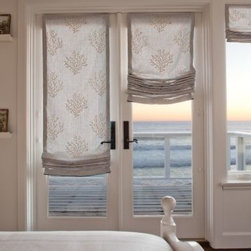 relaxed roman shade - These relaxed roman shades are an excellent choice for French doors.  Fabric shades bring privacy as well as softening the look of any room.