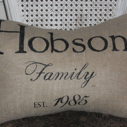 Custom Family Burlap Pillow Slip By The Lettered Home - A custom family pillow makes a great housewarming or wedding present!