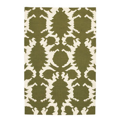 Thomas Paul Flock Green-Cream Rug - 3' x 5' - Thomas' concept is simple The design concept is to mix unrelated historic design styles - art nouveau, 60's pop art, 70's minimalism, 18th Centurn Baroque - and reinterpret these disparate periods into a unique style with coordinated color palette that works with today's interiors. Price points are accessible to attract a stylish and design driven youth.