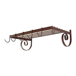 """Grace Manufacturing - 24 Inch Wall Mount Pot Rack with Shelf, Aged Iron, without Utility Bar - Dimensions: 24"""" W x 13"""" D x 8"""" H"""