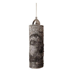 October Design Co. - Birch Wood Hanging Pendant Lamp, Large - Bring a little bit of nature indoors and enjoy it year-round! This birch pendant light shade is made of a thin protective zinc metal core tube, covered in natural bark and wrapped with silver-toned wire. Because this is real birch wood, the bark naturally peels a little, giving each lamp a truly rustic feel and unique silhouette. Complements many styles of décor - contemporary, shabby chic or industrial. Perfect for your home or business (boutique or restaurant). Makes a lovely gift, too!