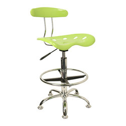 Flash Furniture - Flash Furniture Vibrant Apple Green and Chrome Drafting Stool with Tractor Seat - Quality chair at an amazingly affordable price! This sleek, modern stool conforms to several areas in the home or office. The molded tractor seat offers great comfort. The Height adjustable capability of this stool allows you to use the stool at the Dining table and bar table and anywhere in between. [LF-215-APPLEGREEN-GG]